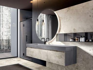 Wall-mounted porcelain stoneware vanity unit EDONÈ - ACTION