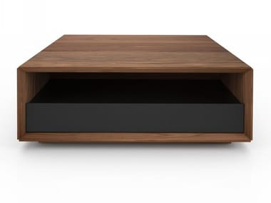 Square walnut coffee table with storage space EDWARD | Square coffee table
