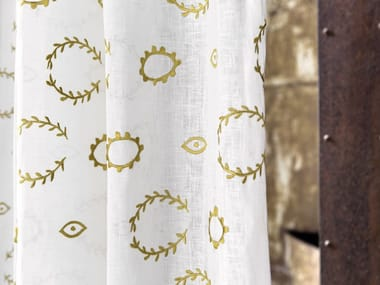 Embroidered linen fabric EFFIGIE - AFFINITY
