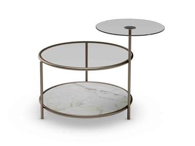 Tavolino rotondo in vetro con portariviste EGEO