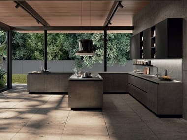 Lacquered kitchen with peninsula EGO LINE