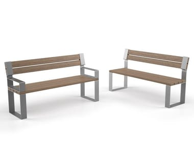 Steel and wood Bench with back EIGHT   Bench with back