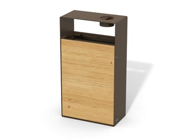 Steel and wood litter bin with ashtray EIGHT | Litter bin with ashtray