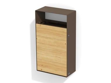Wall-mounted steel and wood litter bin EIGHT | Wall-mounted litter bin