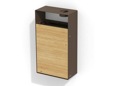 Wall-mounted steel and wood litter bin with ashtray EIGHT | Wall-mounted litter bin