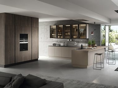 Kitchen with peninsula without handles EKO | Kitchen with peninsula