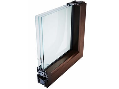 Aluminium and wood thermal break window EKU WOODART TT THERMOPLUS 98