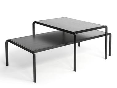 Low rectangular wood veneer coffee table ELBOW | Wood veneer coffee table