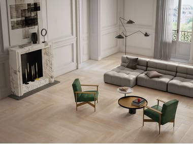 Pavimento/rivestimento in gres porcellanato effetto legno per interni ELEMENTS NATURAL IVORY