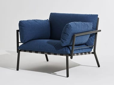 Fabric garden armchair with armrests ELEVEN | Garden armchair