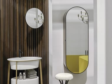 Oval wall-mounted mirror with cabinet ELIO