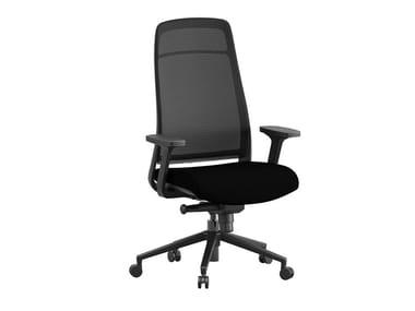 Sedia ufficio ad altezza regolabile in tessuto a 5 razze con braccioli ELIO