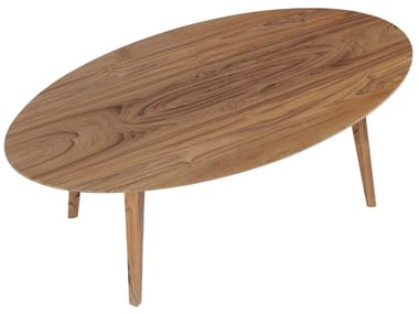 Low oval teak coffee table ELIPS
