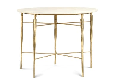 Round brass and marble high side table ELIS | High side table