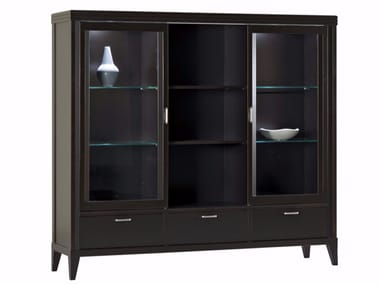 Lacquered wooden display cabinet with integrated lighting ELIZA | Display cabinet with integrated lighting