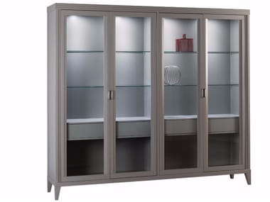 Lacquered wooden display cabinet with integrated lighting ELIZA | Lacquered display cabinet