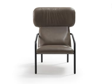 Wing leather armchair with armrests ELLE   Leather armchair