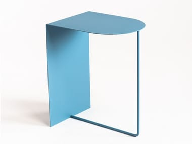 Powder coated steel coffee table with integrated magazine rack ELLE