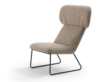 Contemporary style wing sled base fabric armchair ELLE   Sled base armchair