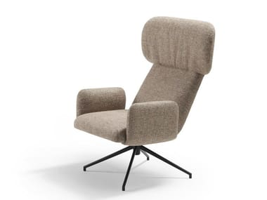Wing trestle-based fabric armchair with armrests ELLE | Trestle-based armchair