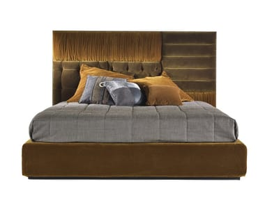 Upholstered fabric bed with high headboard ELLIOT
