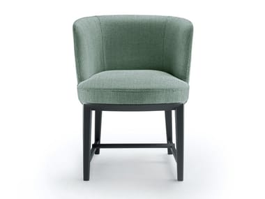 Upholstered fabric chair with armrests ELSA