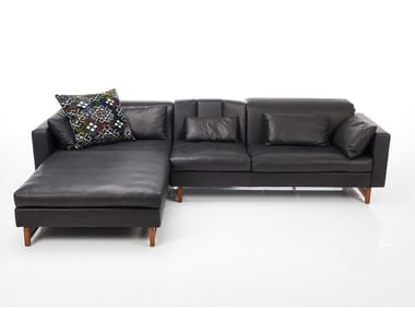 3 seater leather sofa with chaise longue EMBRACE | Sofa with chaise longue