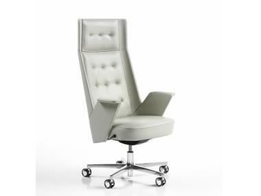 Cadeira executiva de pele com encosto alto EMBRASSE | Cadeira executiva com encosto alto