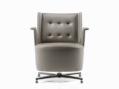 Tufted leather easy chair with 4-spoke base EMBRASSE LOUNGE | Leather easy chair