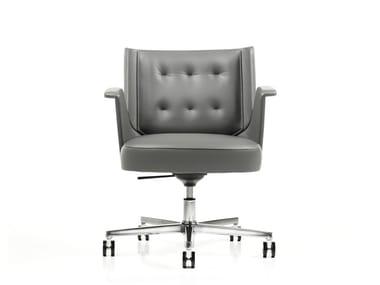 Cadeira executiva de pele com encosto baixo EMBRASSE | Cadeira executiva com encosto baixo