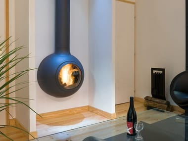 Wall-mounted fireplace with panoramic glass EMIFOCUS HUBLOT