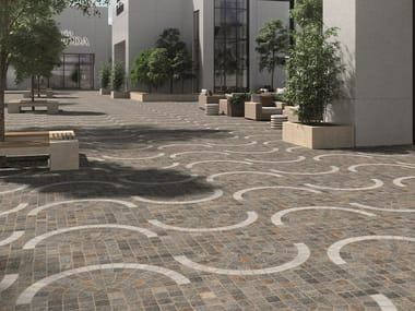 Porcelain stoneware outdoor floor tiles with stone effect EMILIA