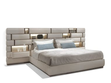 Upholstered fabric bed double bed EMOTION