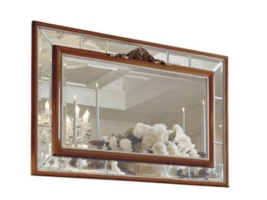Rectangular framed wall-mounted cherry wood mirror EMOZIONI | EMO103
