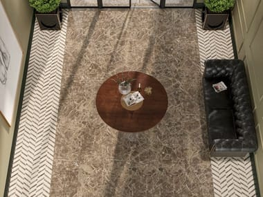 Porcelain stoneware wall/floor tiles with marble effect EMPERADOR BROWN