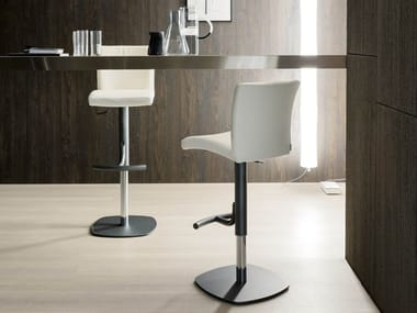 Upholstered leather stool with gas lift EMY