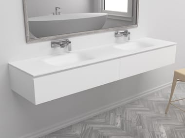 Wall-mounted vanity unit with drawers NEVADA | Double vanity unit