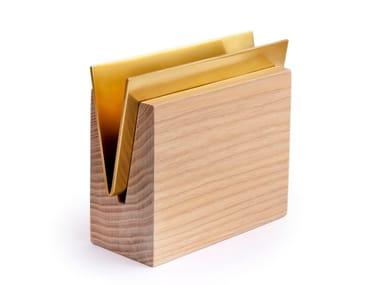 Ash and brass napkin holder / desk tray organizer ENVELOPE | Brass napkin holder