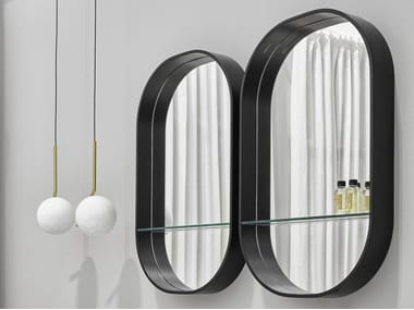 Oval wall-mounted mirror with shelf EOS
