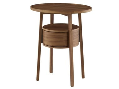 Round solid wood bedside table with drawers EPISODE