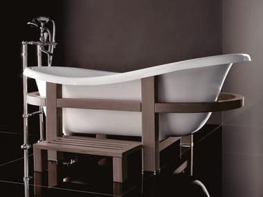 Vasca da bagno centro stanza ovale su piedi in legno EPOCA ONE TOP