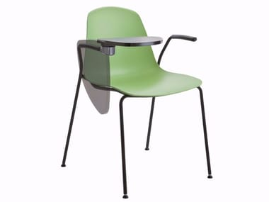 Stackable training chair with armrests with writing tablet EPOCA | Training chair