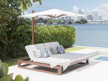 Double wooden garden daybed EQUINOX DOUBLE CHAISE LOUNGE