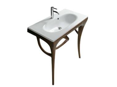 Console de lavabo en iroko ERGO 7156