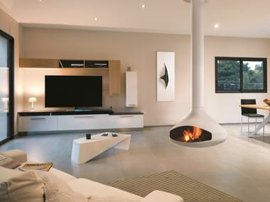 Open hanging steel fireplace ERGOFOCUS WHITE