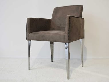 Upholstered fabric chair with armrests ERIN