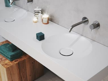 Double round washbasin with integrated countertop EROSION-03 DUAL