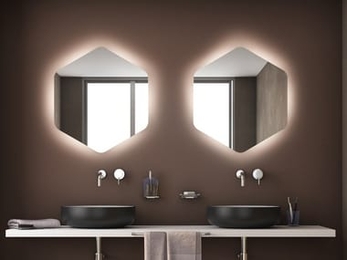 Wall-mounted mirror with integrated lighting ESAGONO LED AMBIENTE