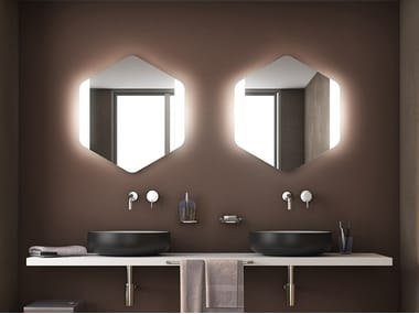 Wall-mounted mirror with integrated lighting ESAGONO LED FRONTALE