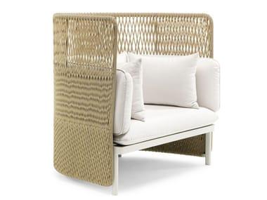 Upholstered high-back garden armchair ESEDRA | High-back garden armchair